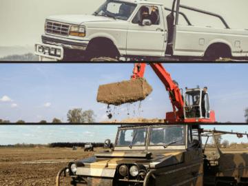 Zestaw Militarny Monster Truck Koparka Amfibia